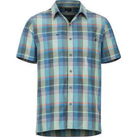 Marmot Innesdale Bluzka z krótkim rękawem Mężczyźni zielony/niebieski